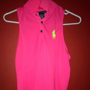 Pink Sleeveless Ralph Lauren Polo with a collar